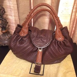 Fendi Two Tone Spy Bag in Browns Pebbled Leather